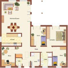 Haus-Bild: Bungalows & Winkelbungalows – C. Dream House Plans, House Floor Plans, Bungalows, Prefabricated Houses, Farmhouse Remodel, House Blueprints, Built In Bookcase, Sims House, Home Design Plans