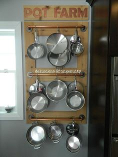 DIY wall pot storage.  Keep pots and pans handy and tidy with this genius idea!