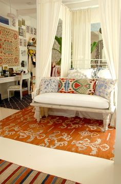 Bedroom/Living Room Decorating Ideas. Orange and Blue. Rugs. Home Decor. House Design.