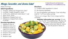 The fresh flavors in this salad add a healthful punch to Mexican-inspired meals. Vegetarian Times, Mango Salad, Salad Ingredients, How To Make Salad, The Fresh, Cucumber, Healthy Recipes, Meals, Salads