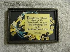 "VINTAGE BUZZA MOTTO PRINT ""THROUGH FEAR OF TAKING RISKS IN LIFE"""