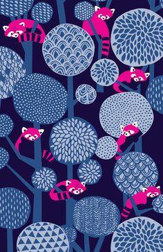 Red Panda Forest - Blue Art Print