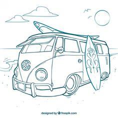 Surfer van free vector