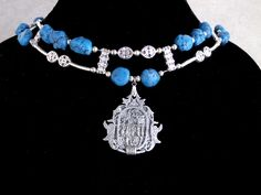 Ancient Egyptian Necklace Denim Dyed Turquoise