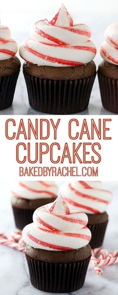 Chocolate candy cane cupcakes with striped peppermint buttercream frosting recipe from Rachel Baked by Rachel Winter Cupcakes, Holiday Cupcakes, Fancy Cupcakes, Köstliche Desserts, Best Dessert Recipes, Cupcake Recipes, Delicious Desserts, Cupcake Videos, Buttercream Frosting