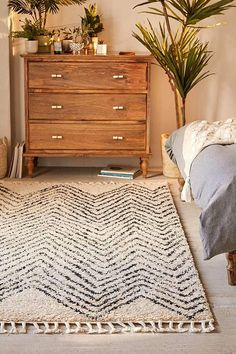 Chevron Shag Rug - Tonal shag rug featuring a plush pile and subtle chevron pattern. Fluffy shag rug in a refined geo pattern with braided tassel trim along edges. Bedroom Apartment, Home Bedroom, Apartment Living, Bedroom Decor, Bedroom Ideas, Rustic Apartment, Master Bedroom, Apartment Ideas, Bedrooms