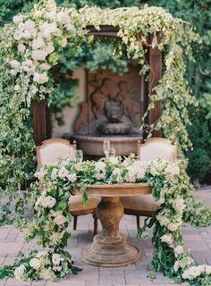 The most beautiful sweetheart table. Wedding at Villa San Juan Capistrano and Franciscan Gardens. Photo by Jen Huang