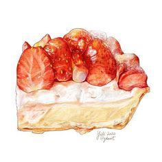 Dessert Illustration, Cute Food Art, Food Sketch, Cute Food Drawings, Food Cartoon, Watercolor Food, Food Painting, Food Wallpaper, Food Illustrations