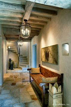 rustic provencal industrial interior design | 400 year old antique stone stair, antique oak beams, and Bourgogne ...