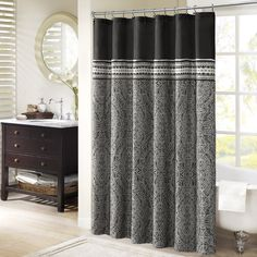 Denton's classic design is perfect for any bedroom. The gray jacquard pattern creates a sophisticated look that instantly updates your room. Made from polyester this shower curtain is machine washable