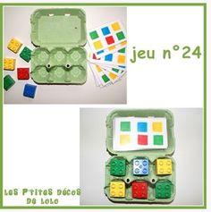 Jeu mathématique où les enfants doivent positionner les blocs Légos aux bons endroits selon les fiches.
