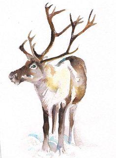 Reindeer Painting  original watercolor