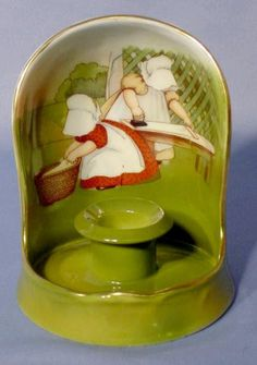 Royal Bayreuth Sunbonnet Babies Shielded Candle Holder: Ironing Day