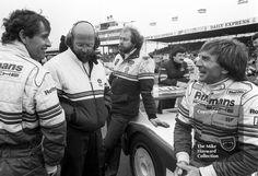Rothmans Porsche drivers Derek Bell and Jacky Ickx on the grid, World Endurance Championship, 1985 Grand Prix International meeting, Silverstone. Le Mans, Pictures Of Sports Cars, British Sports Cars, Grand Prix, Porsche, F1, Grid, Legends, Garage