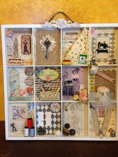sewing theme painters tray - Scrapbook.com  I love all the things that people can create with the White ATC and Photo Display from 7 Gypsies.