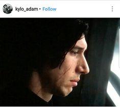 Kylo Ren in profile in The Last Jedi.