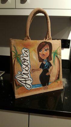Travel agent personalised jute bag by Drews Jutes hand painted