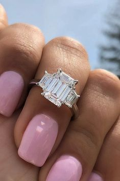 21 Three Stone Engagement Rings You Will Want ❤️ three stone engagement rings emerald cut diamond gold classic simple ❤️ See more: http://www.weddingforward.com/three-stone-engagement-rings/ #weddingforward #wedding #bride #weddingring