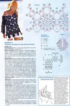Пуловер из круговых мотивов | Вязание крючком, схемы вязания, бесплатное вязание крючком Pull Crochet, Mode Crochet, Crochet Tunic, Crochet Clothes, Knit Crochet, Crochet Diagram, Crochet Motif, Crochet Stitches, Crochet Patterns