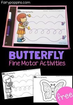 These free butterfly activities help kids develop their fine motor skills, such as pencil control and scissor skills. Bug Activities, Fine Motor Activities For Kids, Spring Activities, Kindergarten Activities, Writing Activities, Preschool Lessons, Therapy Activities, Preschool Centers, Free Preschool