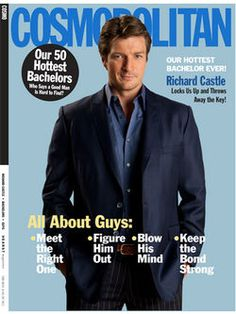 """ABC's hit show """"Castle,"""" starring the charming Nathan Fillion as crime-solving novelist Richard Castle, has its season premiere on Monday, September and Cosmo plays a role in the first two episodes! Castle Tv Series, Castle Tv Shows, American Pride, American Horror Story, Richard Castle, Castle Beckett, Magazine Pictures, Greys Anatomy Cast, Nathan Fillion"""