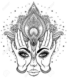 792d4c4ea0f76 Vector - Mysterious creature with eyes on the hands over vector ornamental  Lotus flower and praying