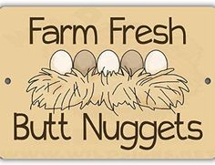 Chicken Coop - Butt Nuggets Indoor/Outdoor No Rust No Fade Aluminum Chicken Coop Sign … Building a chicken coop does not have to be tricky nor does it have to set you back a ton of scratch. Chicken Coop Signs, Easy Chicken Coop, Building A Chicken Coop, Funny Chicken, Chicken Quotes, Chicken Ideas, Chicken Lady, Hobby Farms, Raising Chickens