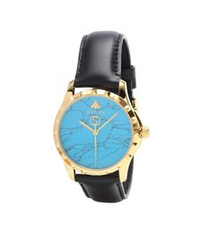 G-Timeless 38mm black, blue and yellow gold PVD and leather watch