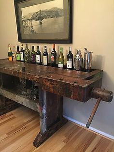 Antique Carpenter Workbench Industrial Wood Carpenter Table Server Bar VTG Old