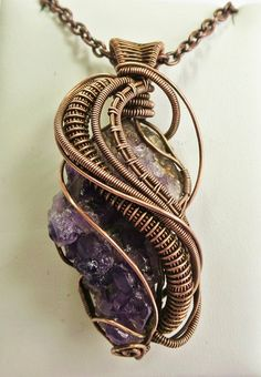 Amethyst Druzy Wire-Wrapped Antiqued Copper Pendant on Chain by HeatherJordanJewelry, $89.99