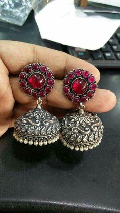 Oxidised jumkhas with ruby red stone base. Trendy Jewelry, Tribal Jewelry, Metal Jewelry, Fashion Jewelry, Indian Wedding Jewelry, Indian Jewelry, Antique Earrings, Antique Jewelry, Antique Silver