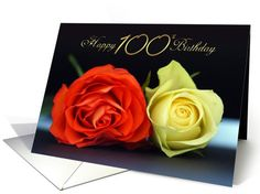 100th Birthday Card With Orange And Cream Roses with Dark Background card