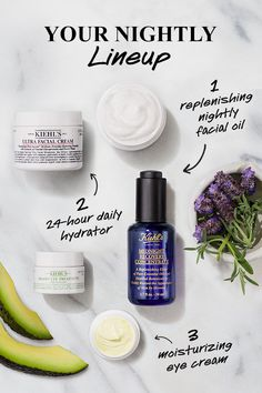 Combat dry winter skin while you sleep with this nighttime winter skincare routine: After cleansing, apply Midnight Recovery Concentrate — a replenishing facial oil formulated with Evening Primrose and Lavender Essential Oils — for a visibly smoother. Oily Skin Care, Skin Care Regimen, Skin Care Tips, Facial Cream, Facial Oil, Eye Treatment, Organic Skin Care, Beauty Skin, Evening Primrose