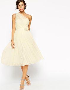 ASOS WEDDING Mesh One Shoulder Corsage Dress