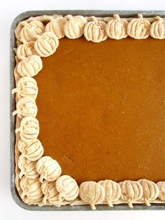 fall desserts Pumpkin Slab Pie - Just as delicious as traditional pumpkin pie, just a lot easier to make with a higher ratio of flaky crust. Fall Dessert Recipes, Thanksgiving Desserts, Holiday Desserts, Fall Recipes, Holiday Recipes, Holiday Baking, Pumpkin Cookies, Pumpkin Dessert, Fun Baking Recipes