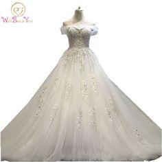 100% Real Photo vestido de noiva princesa Wedding Dress Lace Beaded Bridal  Gowns with Train 8270f02d8155