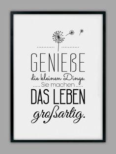 """Impresión original - impresión artística """"ENJOY LIFE"""" - un producto de diseño de Smart-A . - Original Print – Lámina """"ENJOY LIFE"""" – hecho a mano por Smart-Art-Art Prints en DaWanda Imágen - Brush Lettering, Hand Lettering, Words Quotes, Sayings, German Quotes, True Words, Quotations, Inspirational Quotes, Wisdom"""