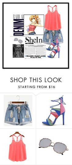 """""""Shein Ripped Drawstring Shorts"""" by two-faced-honey ❤ liked on Polyvore featuring Alima"""