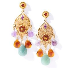 Colleen Lopez Multicolor Stone Drop Earrings at HSN.com.