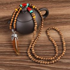 Buddhist Mala Wood Beads Necklaces