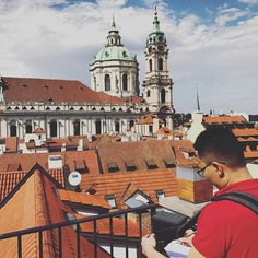 Our Co-Founder Yan working on his honeymoon.. I believe this is in #prague ? Credit to his wife Christina for the happy snap and simply putting up with this behavior :)⠀  ⠀ ⠀