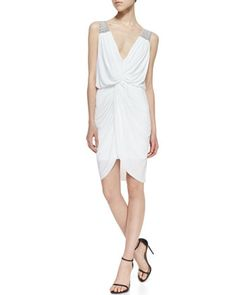 Knotted-Front Woven-Trim Dress, White by T Bags at Neiman Marcus.