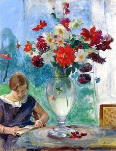 Henri Lebasque.  Jeune femme lisant et vase de fleurs  1915