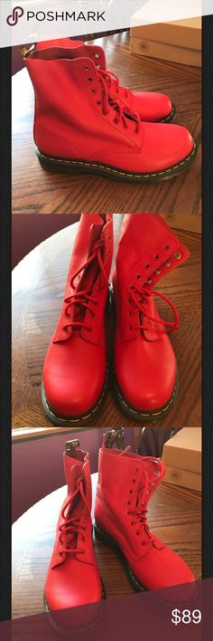 Dr. Martens Docs Pascal Red Boots Women's 10 NEW! Dr. Martens Docs Pascal Red 8 Eyed Boots Air Wair Sole Women's 10 New No Box  Great Bright Red Color!!! Gorgeous!!!! Dr. Martens Shoes Ankle Boots & Booties