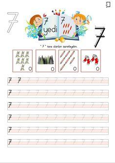7 Rakamı Etkinlikleri Preschool Math, Teaching Kindergarten, Number Tracing, Turkish Language, Math For Kids, Back To School, Diy And Crafts, Alphabet, Diagram