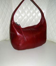 I'm auctioning 'Vintage COACH Ergo Red Leather Hobo Shoulder Bag' on #tophatter