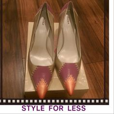 DELICIOUS Multi-colored Pumps Brand new, never worn. Great colors for spring. Beautiful multi-colored pump with gold heels. Style for less! Delicious Shoes Heels