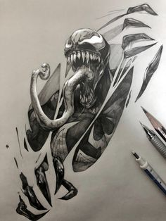 Spiderman Tattoo, Spiderman Kunst, Spiderman Drawing, Arte Do Pulp Fiction, Comic Books Art, Comic Art, Gift Tattoo, Venom Tattoo, Art Sketches