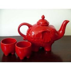 Elephant Tea Set: Sturdy and pleasing. Also available in black and white.