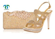 Italian Fashion Party Shoes And Bag Set In Gold To Match Women Tsb981